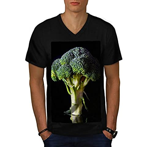 Green Broccoli Men M V-Neck T-shirt | Wellcoda