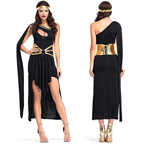 WWANGYU Frauen Fantasievolle Kleider Sind Strapazierfähige Weiße Kleider Gürtel Halsketten Und Kopfbedeckung Halloween Griechische Göttin Kostüm Oder Ägyptische Kostüm,Black