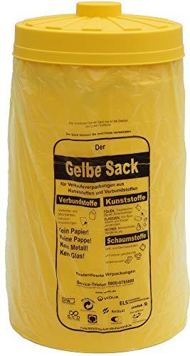 clevere Einfüllhilfe für Gelbe Säcke - Sacktonne gelb mit Deckel - Gelbe Säcke Werden Stabiler - Ständer für Gelben Sack, Müllsackständer, Müllständer, Wertstoffbehälter