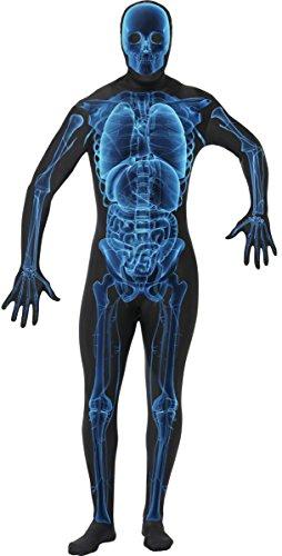 lett Röntgenstrahlen Halloween Kostüm schwarz-blau XL (Skelett Skin Suit)