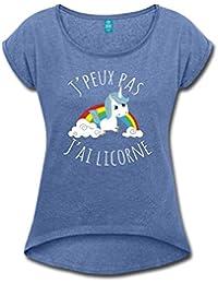 J'Peux Pas J'Ai Licorne Arc En Ciel T-shirt Femme à manches retroussées de Spreadshirt®