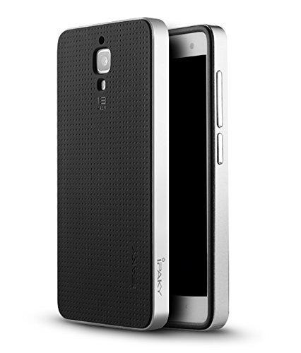 AE (TM) xiaomi Mi4 100% Original Luxury Neo Hybrid Armor w Frame Silicone Case Back cover for xiaomi mi4 Smartphone - SILVER