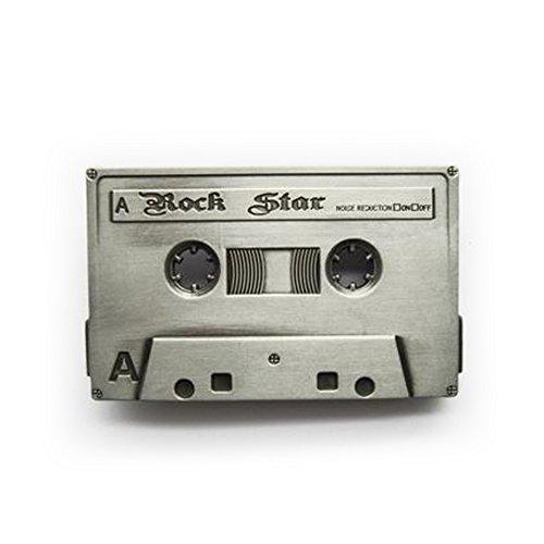 eeddoo® Gürtelschnalle - Musikkassette silber- Rock Star - Tape Belt Buckle (Buckle für Wechselgürtel für Damen und Herren | Belt Frauen Männer Oldschool Rockabilly Metall Biker Western Trucker)