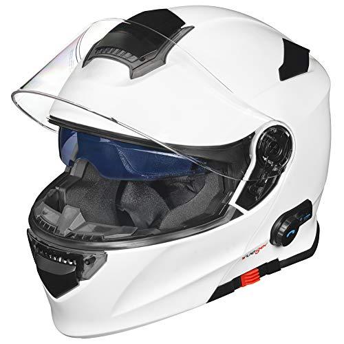 RS-983 Bluetooth Klapphelm Motorradhelm Conzept Motorrad Modular Helm rueger, Größe:L (59-60), Farbe:Matt Weiß