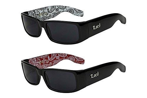 2er Pack Locs 9006 X 08 Sonnenbrillen Herren Brille - 1x Modell 04 (schwarz glänzend - Bandana-Design weiß/schwarz getönt) und 1x Modell 06 (schwarz glänzend - Bandana-Design rot/schwarz getönt)