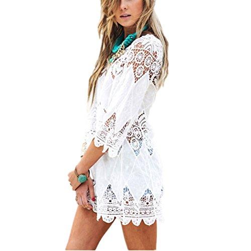 Bikini Cover Up ININUK Bikini Kleid Strandkleid Damen Push Up Strandponcho Sommer Kleid Bikini Überwurf Kaftan Spitze Weiß
