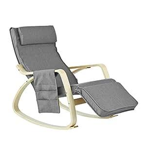 SoBuy FST18-DG éponge plus épais, Rocking Chair Fauteuil à bascule berçante avec repose-pieds réglable Bouleau + 1 pochette latérale gratuite