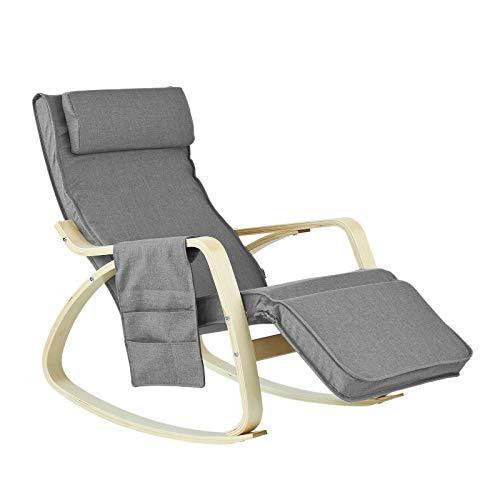 SoBuy FST18-DG éponge plus épais, Rocking Chair Fauteuil à bascule...