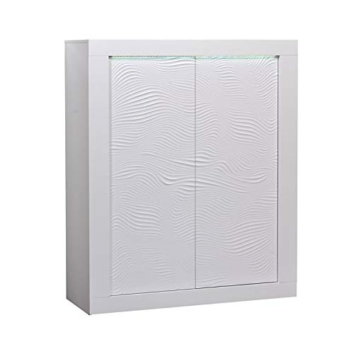 Tousmesmeubles Vaisselier 2 Portes Laqué Blanc à LEDs - Marks - L 120 x l 45 x H 145 - Neuf