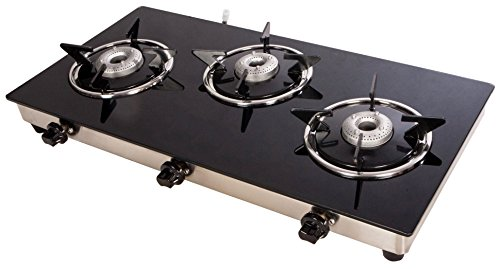 Suryajwala Stainless Steel 3 Burner Manual Gas Stove, Black (sj3burner-CI-CT)