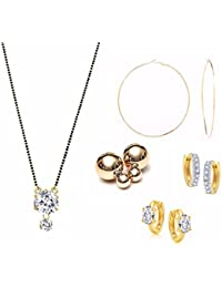 Archi Collection Jewellery Combo Of Gold Plated American Diamond Mangalsutra Pendant With Chain And Earrings For...