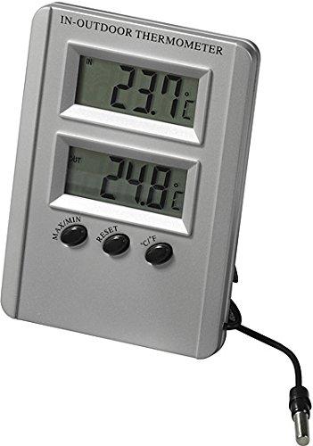 Möller-Therm Thermomètre Digital Intérieur Extérieur, 100 x 72 mm, Gris