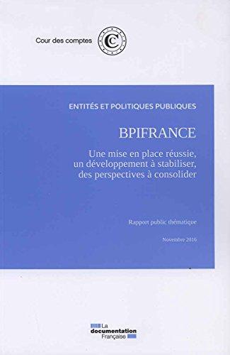 BpiFrance : une mise en place réussie, un développement à stabiliser, des perspectives financières à consolider