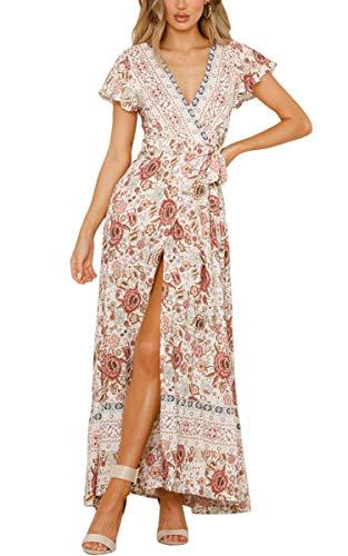 ECOWISH Damen Kleider Boho Sommerkleid V-Ausschnitt Maxikleid Kurzarm Strandkleid Lang mit Schlitz Beige M - Kleid Hochzeit Boho Strand