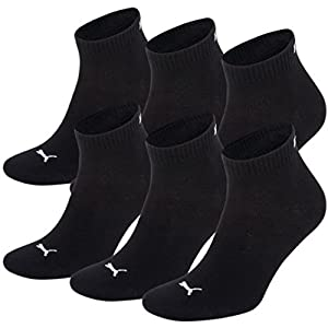 Unisex Quarters Socken Sportsocken 6er Pack (black / black 200, 39-42)