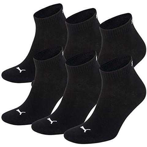 Unisex Quarters Socken Sportsocken 6er Pack (black / black 200, 39-42)