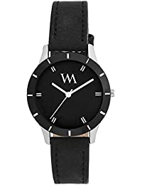 Watch Me Black Dial Black Leather Strap Watch For Men And Boys AWC-002