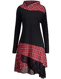 Damen Tops Plus Size Rovinci Herbst Elegante Damen Langarm T-Shirt  Einfarbig Wasserfallausschnitt Top Langarmshirt Falten Bluse… f3e34eb7c1