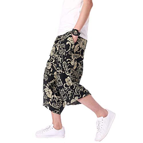 MäNner Pluderhosen Komfort Lose Weites Bein Mehrfarbendruck Hip Hop Baggy Boho LäSsige Cropped Hose -