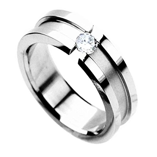Piersando Damen Ring Edelstahl Silber mit Zirkonia Strass Stein Partnerring Ehering Bandring Trauring Damenring Größe 47 (15.0)