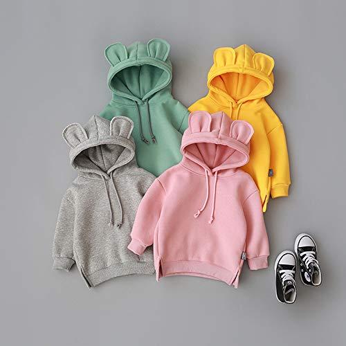 Wang-RX Winter Kleinkind Baby Kinder Jungen Mädchen Kapuzen Cartoon 3D Ohr Langarm Hoodie Sweatshirt Tops Kleidung -