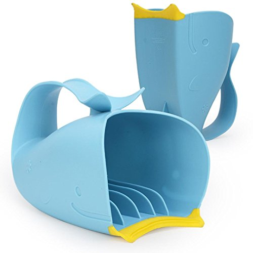 Baby Child Bathing Cup Bathing Water Spoon Tear-Free Waterfall Rinser Blue Cartoon Whale