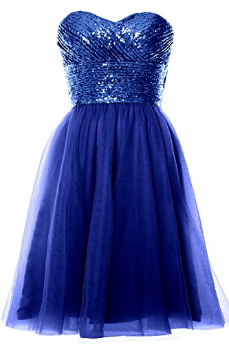 MACloth Women Strapless Cocktail Dress Sequin Short Wedding Party Formal Gown Royal Blue