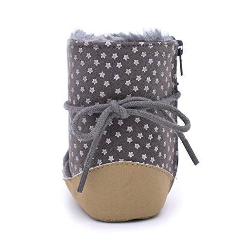 Hunpta Baby Schneestiefel weiche Sohle weiche Krippe Schuhe Kleinkind Straps Stiefel Gray