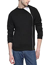 Campus Sutra Black Mens cotton Mettalic Side Zipped Jacket