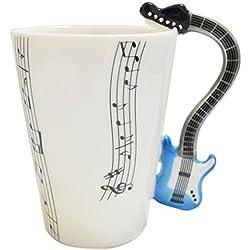 Tazas puequeñas de café expresso - taza creativa con asa de Guitarra eltrónico azul y Partitura.