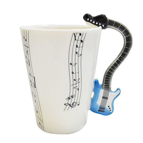 Gift Garden Tazas Puequeñas de café Expresso - Taza Creativa con asa de Guitarra eltrónico Azul y Partitura.