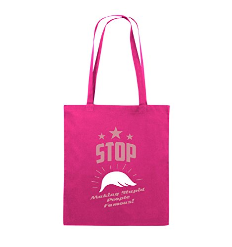 Comedy Bags - Stop making stupid people famous - Jutebeutel - lange Henkel - 38x42cm - Farbe: Schwarz / Weiss-Neongrün Pink / Rosa-Weiss