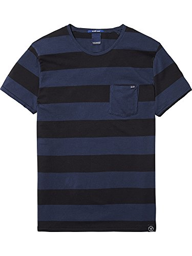 Scotch & Soda Herren T-Shirt 1 Pocket Tee in Seasonal Stripes in Normal Fit Mehrfarbig (Combo E 0L)
