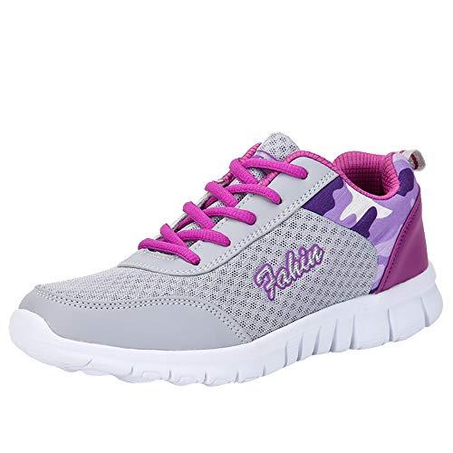 FNKDOR Mode Damen Schuhe Sneaker Laufschuhe Wanderschuhe Sportschuhe (40, Violett)