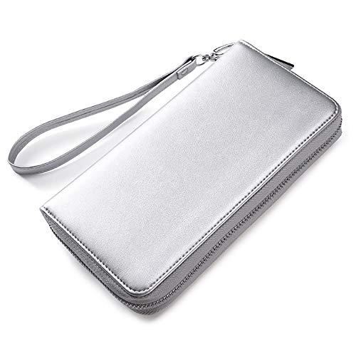 YQXR Geldbörsen und Clips, Herren Brieftasche Paket Zwei-Schicht-Leder-Kartenhalter Multifunktions-große Kapazität Karte Leder Orgel Kartenhalter (Color : Silver, Size : M) (Silver Dollar Anzeige)