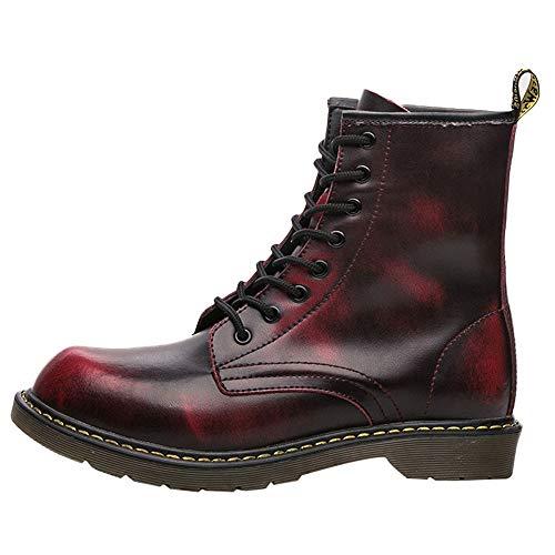 EU39-EU46 ODRD Schuhe Mode Herren England Vintage Boots Motorrad Stiefel Stiefeletten Wanderstiefel Combat Hallenschuhe Worker Boots Laufschuhe Sports (Rote 2019 Halloween-maske)
