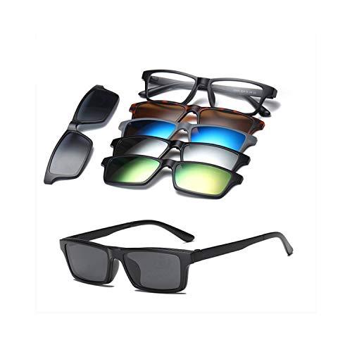 FGRYGF-eyewear2 Sport-Sonnenbrillen, Vintage Sonnenbrillen, 5 Lenes Magnet Sunglasses Clip Mirrored Clip On Sunglasses Clip On Glasses Männer Polarized Clip Custom Prescription Myopia 2253A