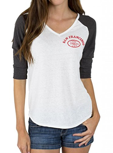 Junk Food NFL San Francisco 49ers Niners Raglan T-Shirt (Juniors L) (Junior Food Shirt-junk)