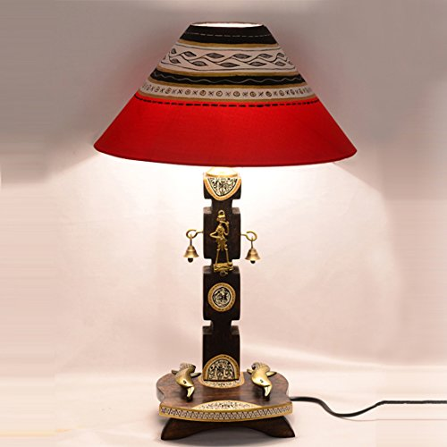 Exclusivelane 20 Inch Dhokra & Warli Handpainted Wooden Table Lamp In Brown...