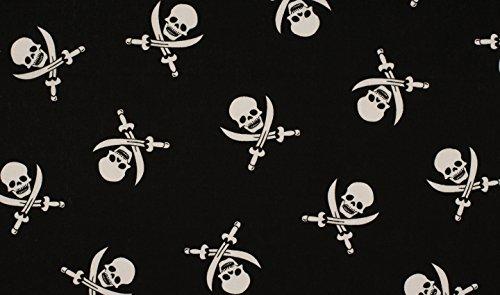 Quality Textiles Stoff Totenkopf/Schwarz Weiß/Popeline/Poplin (0,5 Meter)