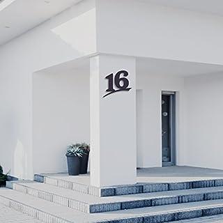 Hausnummer 16 ( 20cm Ziffernhöhe ) in Anthrazit-grau, schwarz oder weiß, 6mm stark aus Acrylglas - Original ALEZZIO Design - Rostfrei, UV-beständig und abwaschbar, Anthrazit wie Pulverbeschichtet RAL 7016, mit Montageschablone