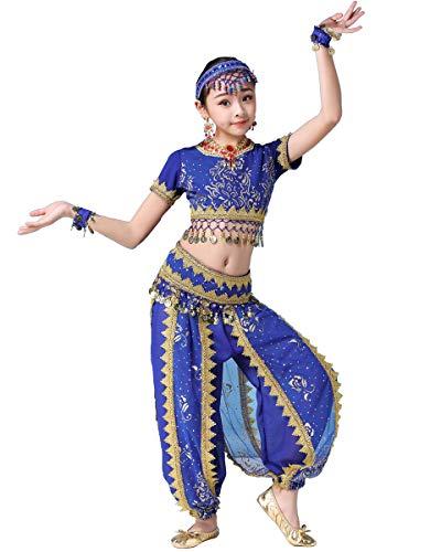 Grouptap Bollywood Mädchen bharatanatyam Stammes-Indianer Kinder Kostüm blau arabische Prinzessin Bauch Rock Outfits (Blau, 130-155 (Kostüm Der Indischen Stämme)