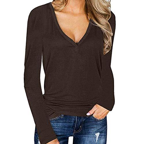 einhorn fleisch Damen Tops T-Shirt Langarm Oberteile V Ausschnitt Bluse Elegant Casual Sweatshirt Pullover Vintage Locker Pulli (Braun, S)