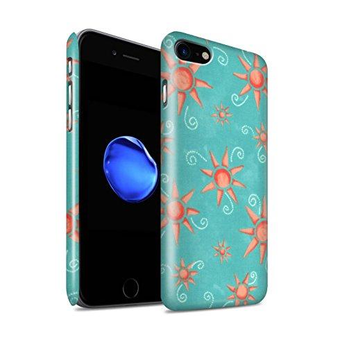 STUFF4 Glanz Snap-On Hülle / Case für Apple iPhone 8 / Blau/Lila Muster / Sonnenschein Muster Kollektion Türkis/Rot