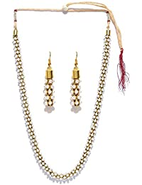 Zaveri Pearls South Indian Style Pearl Beads Necklace Set for Women (Golden) (ZPFK5555)