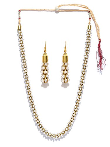 Zaveri Pearls South Indian Style Pearl Beads Necklace Set For Women - ZPFK5555