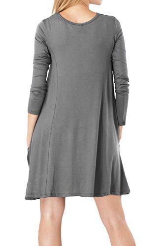 YMING Femme Robe Longues Manches Casual Tunique Style Basique T-Shirt Tops Mini Robe 14 Couleur,XS-XXXXL Manches longues-Gris foncé