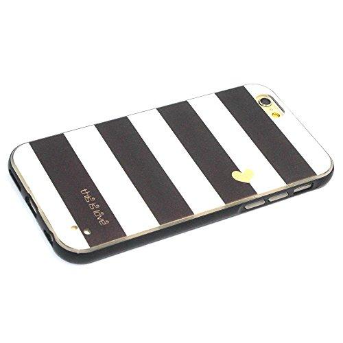 MOONCASE iPhone 6S Coque, Glitter Sparkle Bling Étui Coque pour iPhone 6 / 6S (4.7 inch) Soft Coloré Motif TPU Gel Souple Case Housse de Protection Black Stripe Black Stripe