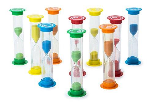 Sanduhr Set mit verschiedenen Zeiten - 10er Pack mit je 2x 30 Sek, 1, 2, 3, 5 Minuten - Buntes Sanduhren Set für Kinder und Erwachsene - Ideal für Haushalt, Sport und Spiele