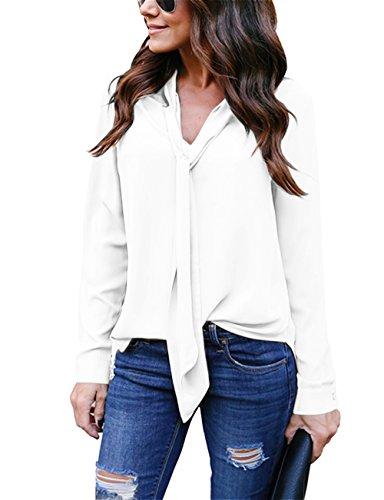 Yidarton Women V Neck Chiffon Long Sleeve Solid Color Casual Tops Shirts Blouse(White,l)